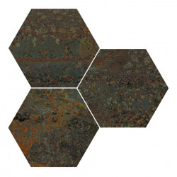 Hexagon gresogranit Rust Green natural Apavisa Porcelanico, 10mm, 25x30 cm