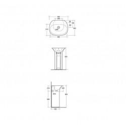 Lavoar pe pardoseala Rak Sensation fara orificiu baterie 55x46 cm