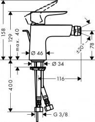 Baterie bideu Hansgrohe Talis E cu ventil