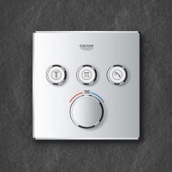 Baterie dus Grohe Grohtherm SmartControl termostatica patrata cu 3 iesiri