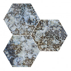 Hexagon gresogranit Inedita blue nat Apavisa Porcelanico, 10mm, 25x30 cm