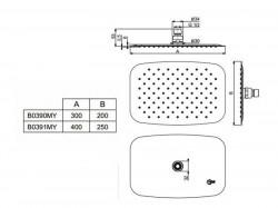Palarie dus Ideal Standard Ideal Rain Luxe M1 rectangulara 200x300mm