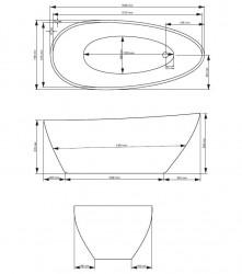 Cada freestanding Besco Goya alb-negru 160x70