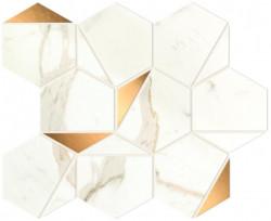 Mozaic Marvel Shine Calacatta Prestigio Gold Hex lucios