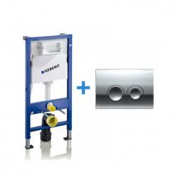 Pachet Geberit Duofix Delta, Rezervor WC incastrat cu cadru si clapeta de actionare, crom lucios