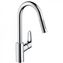 Baterie bucatarie pipa extractibila Hansgrohe Focus E2 crom