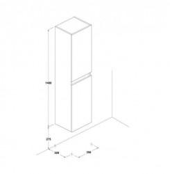 Dulap inalt suspendat Gala Jade alb 4 etajere sticla 140 cm Gala