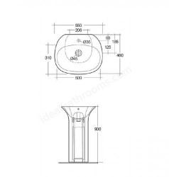 Lavoar pe pardoseala Rak Sensation cu orificiu baterie 55x46 cm