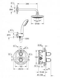 Sistem de dus cu termostat Grohe Grohtherm 1000 incastrat 7 in 1