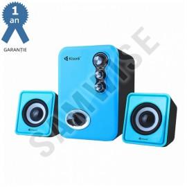 Boxe Kisonli 2.1 U-2100, 5W+2x 3W, alimentare USB, 1x jack 3.5mm, Albastru