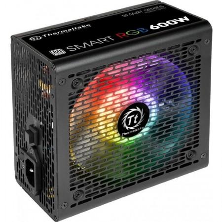 Sursa Gaming Thermaltake Smart Iluminare RGB 600W, 6x SATA, 3x MOLEX, 2x 6+2 pin, PFC activ