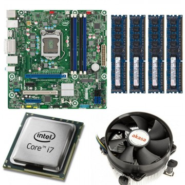 KIT Placa de baza Intel DQ77MK, LGA1155, Intel i7-3770 3.4GHz, 4 nuclee, 16GB DDR3, Cooler procesor Akasa