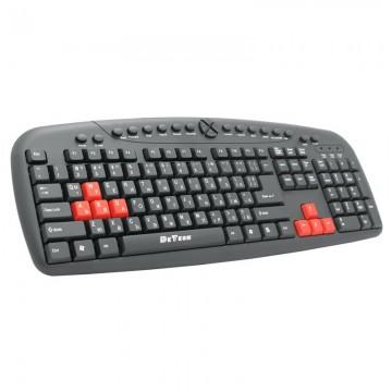 Tastatura multimedia DeTech DE6087, USB, Chirilica, negru