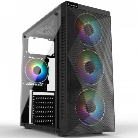 Carcasa Gaming Inaza Stealth RGB, USB 3.0, 3x Vent. 120 mm LED RGB, Panou transparent