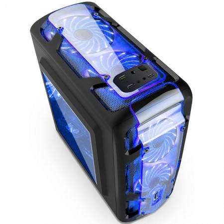 Carcasa Gaming Segotep Polar Light v3, MiniTower, USB 3.0, Iluminare LED Blue, Vent. 3x 120mm