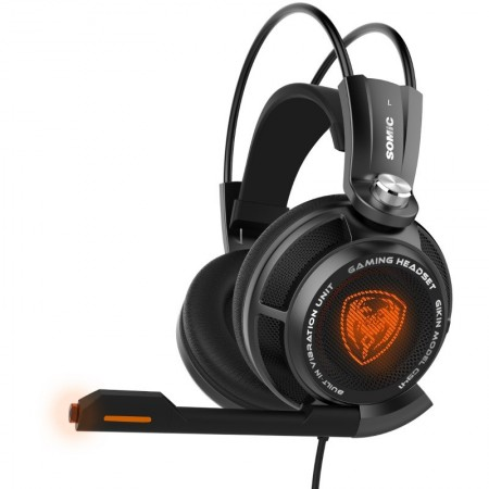 Casti Gaming Somic G941 Black, Sunet surround 7.1, Cu vibratii, USB, Iluminare LED