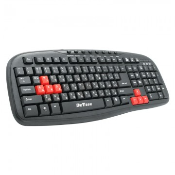 Tastatura multimedia DeTech DE6089, USB, Chirilica, negru
