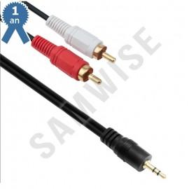 Cablu Audio DeTech Jack 3.5mm male - 2x RCA male, Calitate superioara, 3m