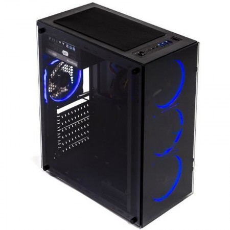 Carcasa Gaming Segotep AND 8 Black, Middle Tower, USB 3.0, Vent incluse 4x 120mm LED Albastru