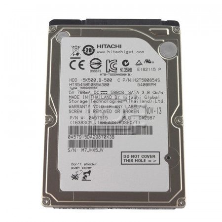 Hard disk Laptop 500GB Hitachi HTS545050B9A300, SATA II, Buffer 8MB, 5400 rpm
