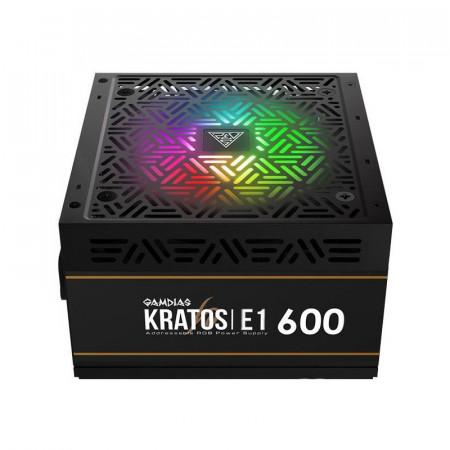 Sursa Gaming Gamdias Kratos E1 RGB 600W, Eficienta 80%, 5x SATA, 2x MOLEX, 2x 6+2 pin, PFC activ