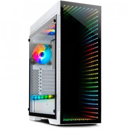 Carcasa Gaming Inter-Tech X-908 Infini2 Alba, USB 3.0 Type-C, Vent. 3x 120mm LED RGB, Panou transparent
