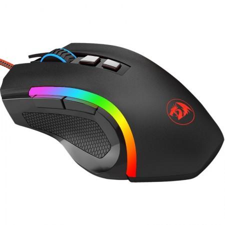 Mouse Gaming Redragon Griffin Black, 7200 dpi, Optic, 8 butoane, Iluminare LED RGB