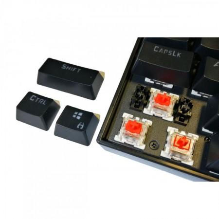 Tastatura Gaming Redragon Mitra Mecanica Red Switch, Iluminare LED, 12 taste multimedia, switch-uri rosii