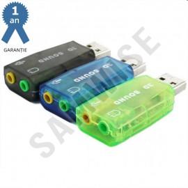 PLACA SUNET USB BLUE / TRANSPARENT, 5.1, 3D Sound