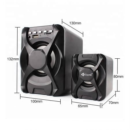 Boxe Kisonli 2.1 U-2500BT, Bluetooth, telecomanda, 5W+2x 3W, alimentare USB, jack 3.5mm, Negru