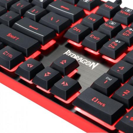 Kit Gaming Redragon S107, Tastatura Iluminata, USB, Mouse Optic Iluminare LED, 3200dpi, MousePad