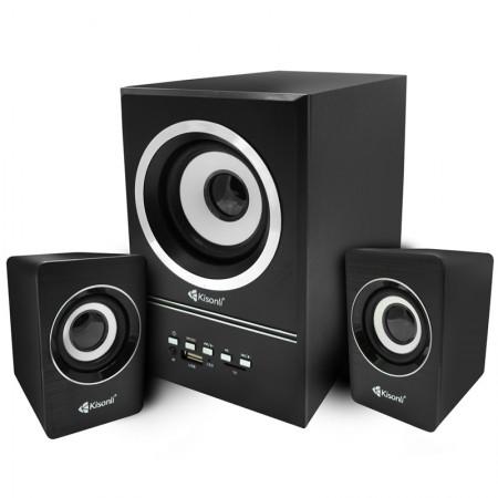 Boxe Kisonli 2.1 U-2700BT, Bluetooth, telecomanda, 5W+2x 3W, alimentare USB, jack 3.5mm, Negru