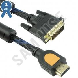 Cablu DeTech HDMI tata - DVI tata, 3m, Calitate superioara, Ferrite, Negru
