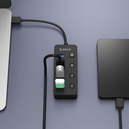 Hub USB Orico W9PH4-U3 V1, 4 porturi, USB 3.0, negru