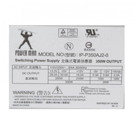 Sursa Power Man 350W IP-P350AJ2-0, 4x SATA, 2x Molex, Vent. 120mm