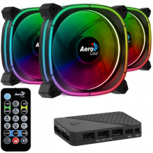 Ventilator Aerocool Astro 12 Pro ARGB 120mm ​Three Fan Pack cu controller H66F