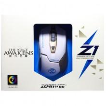 Mouse Gaming ZornWee Z1, Optic, 2400DPI, Iluminare LED, Alb