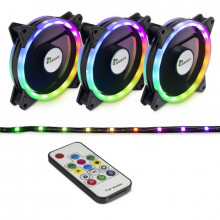 Ventilatoare Inter-Tech Argus RS-04 RGB, 3 Fan Pack, 120 mm, telecomanda + banda LED