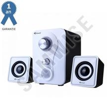 Boxe Kisonli 2.1 U-2200, 5W+2x 3W, alimentare USB, 1x jack 3.5mm, Alb