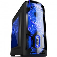 Carcasa Gaming Segotep Polar Light v3, MiniTower, USB 3.0, Iluminare LED Blue, Vent. 3x 120mm