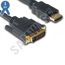 Cablu DeTech HDMI tata - DVI tata, 10m, Calitate superioara, Ferrite, Negru