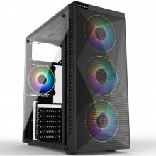 Carcasa Gaming Inaza Stealth RGB, USB 3.0, 3x Vent. 120 mm LED RGB, Panou transparent