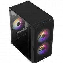 Carcasa Gaming Aerocool CS-107 V2 Black, MiniTower, USB 3.0, Panou transparent