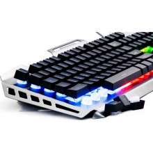 Tastatura Gaming Newmen GM816 black-silver, Iluminata LED RGB, Wired, USB