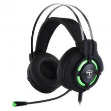 Casti Gaming T-DAGGER Andes Black, Stereo, Iluminare verde, 2x Jack 3.5mm, TRS, Difuzoare 40mm, Cablu 2m