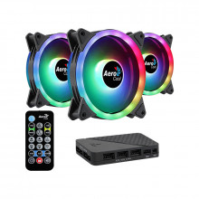 Ventilator Aerocool Duo 12 Pro ARGB 120mm ​Three Fan Pack cu controller H66F