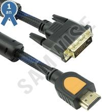 Cablu DeTech HDMI tata - DVI tata, 1.8m, Calitate superioara, Ferrite, Negru