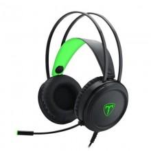 Casti Gaming T-DAGGER Ural Black, Stereo, Iluminare verde, 2x Jack 3.5mm, TRS, Difuzoare 40mm, Cablu 2.15m