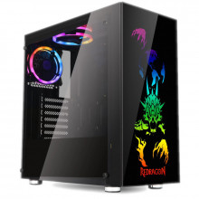 Carcasa Gaming Redragon SteelJaw, MiddleTower, Panou transparent, Iluminare RGB, USB 3.0, Vent. 4x 120mm