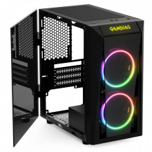 Carcasa Gaming Gamdias Talos E1, MiniTower, USB 3.0, Panou transparent, 2x 120mm LED RGB